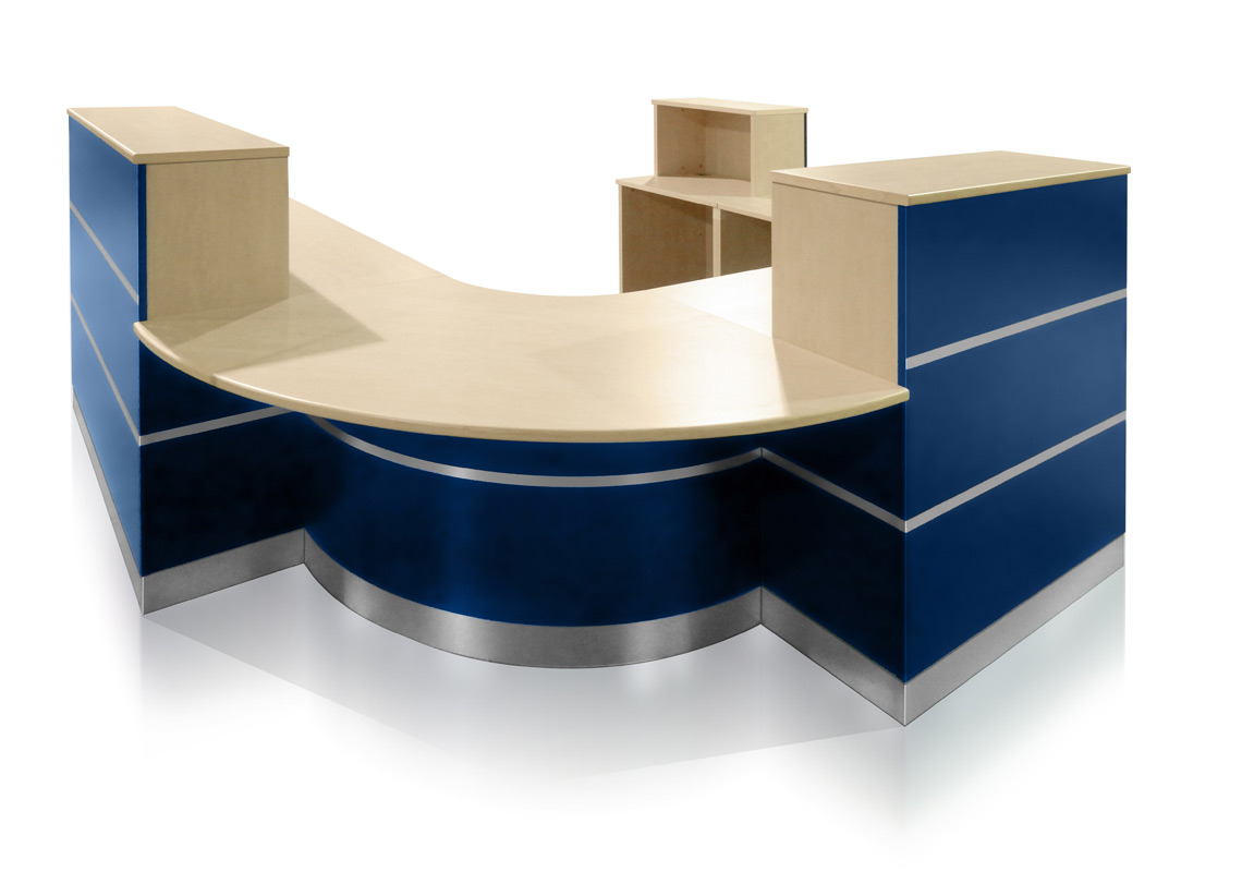 EBORCRAFT RECEPTION COUNTER COMBINES LAMINATE WITH ALUMINIUM FOR DRAMATIC EFFECT