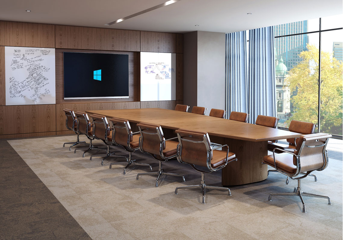 AUDIO-VISUAL WALL PANELLING COMPLEMENTS EBORCRAFT'S TAPERED TABLE